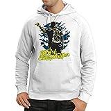 Sweatshirt à capuche manches longues vêtements de bande vintage, marchandise de concert des années 80 (X-Large Blanc Multicolore)