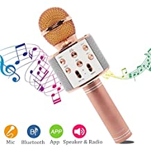 Micrófono Inalámbrico Karaoke Portátil Bluetooth, Reproductor / Grabadora de Karaoke Wireless con Altavoz para Teléfono Android iOS PC, Amplificador de Voz para Reunión, Profesores, Guías, Entrenadores, Presentaciones, Trajes, Lección, Canta, Presentaciones (Rosa)