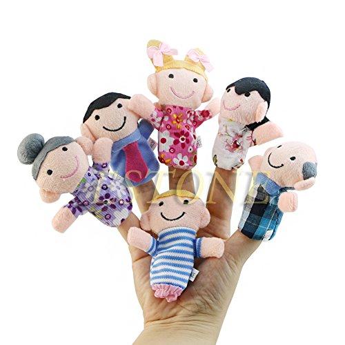 Lamdoo 6 Stücke Kinder Baby Familie Fingerpuppen Plüsch Tuch Puppe Spielen Spiel Lernen Geschichte Spielzeug