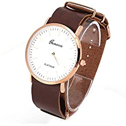 Adjustable PU Leather Strap Quartz Movement Analog Display Unisex Wrist Watches