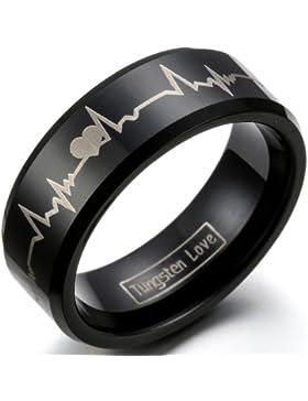 JewelryWe Schmuck Breit 8mm Wolfram Wolframcarbid Herren Ring Band, Herzen & Herzschlag Partnerringe für Verlobung...