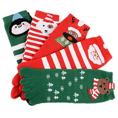 Stillshine Fünf Finger Weihnachten Socken, - Childrens Baby Boy oder Mädchen und Erwachsene gemütliche weiche Baumwolle Socken Value Pack für Kleinkind (Kinder (7-12 Jahre alt))