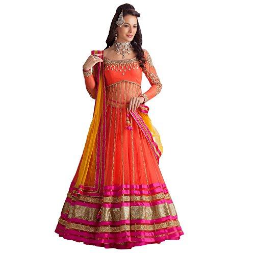 Clickedia Women's Net Semi Stitched Suit (Orange Kali Lehenga_Orange & Yellow)