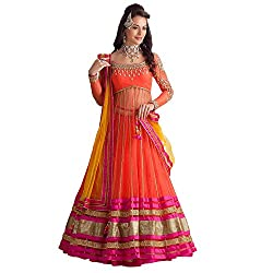 Clickedia Women's Net Semi Stitched Suit (Orange Kali Lehenga_Orange & Yellow)