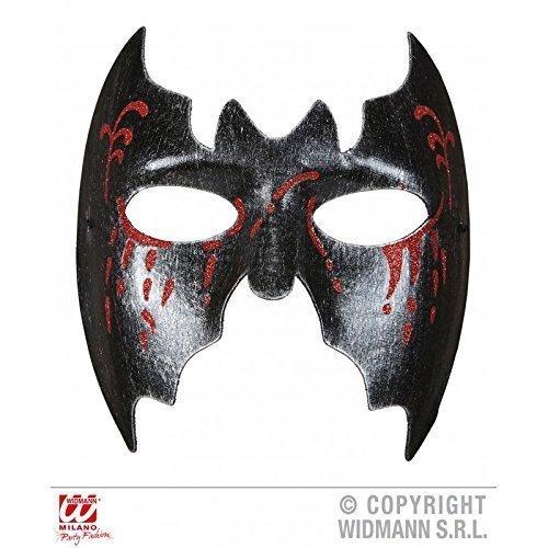 Augenmaske / Gesichtsmaske Fledermaus schwarz blutig für Fasching / Halloween / Halloweenmaske / Bat / (Augenmaske Fledermaus)