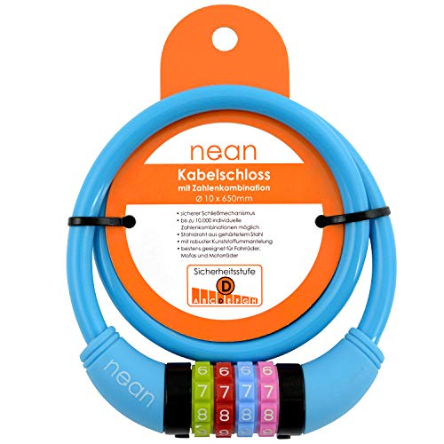 nean Kinder-Fahrrad-Kabel-Schloss, Zahlen-Code-Kombination-Schloss, blau, 10 x 650 mm