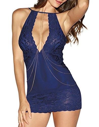 Angeles Kostüm Schmuck Los - Dreamgirl Damen Chemise Kleid mit angenähten Körperschmuck Ketten - Blau - Klein