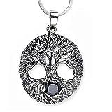 Anhänger Baum des Lebens Keltischer 925er Silber Schmuck mit schwarzer Zirkonia Heilung mit 1,2mm Schlangenkette 45 cm Halskette Lebensbaum Weltenbaum 5501.2