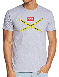 Coole-Fun-T-Shirts Herren T-Shirt Big Bang Theory - Caution - Out Of Order
