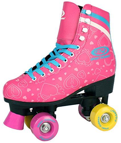 Kinder ROLLSCHUHE 34 35 36 37 38 NEU Discoroller rosa Rollerskates Inliner ABEC-5 (37)