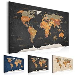 murando Tablero De Corcho & Cuadro en Lienzo 90×60 cm No Tejido XXL Estampado Memoboard Decoración De Pared Impresión Artística Fotografía Gráfica Poster Mapamundi k-C-0048-p-c