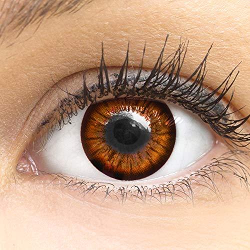 MeralenS Anime Manga Braune Circle Lenses - Sweet Braun ohne Stärke mit Kontaktlinsenbehälter - 15mm Farbige Big Eyes Contact Lenses