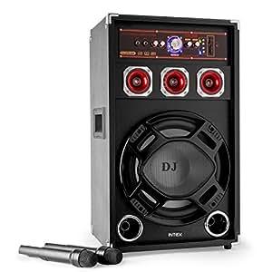 """Intex DJ-220K SUF 120W Noir haut-parleur - hauts-parleurs (DJ, 2-voies, Sol, Dessus de table/étagère à livres, Montage mural, Intégré, 7,62 cm (3""""), 25,4 cm (10""""))"""