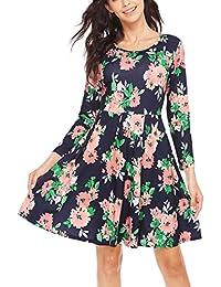 Parabler Damen Kleid Vintage Blumen Jerseykleid mit Falten Langarm  Strandkleid Knielang Rockabilly Swing Freizeitkleid A- eafe2a1424