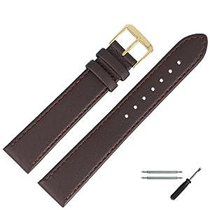 MARBURGER Uhrenarmband 18mm Leder Braun – Werkzeug Montage Set 7591831000220