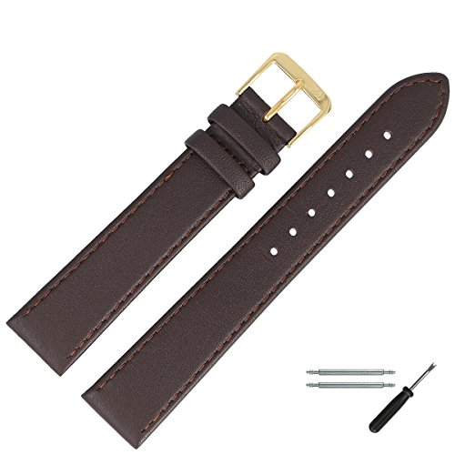 MARBURGER Uhrenarmband 18mm Leder Braun - Werkzeug Montage Set 7591831000220