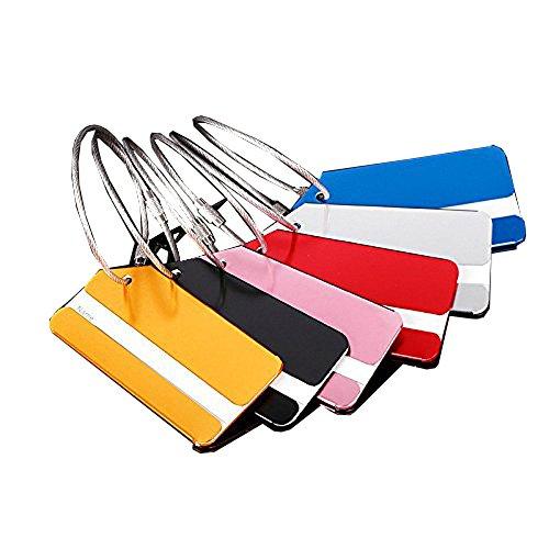 6 Stück Flugzeug Gepäckanhänger Kofferanhänger mit Namensschild Gepäckanhänger aus Metall (6 Stück) (Kofferanhänger Flugzeug)