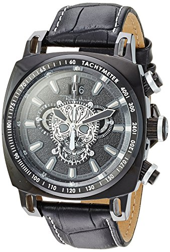 Ritmo Mundo Swiss Quartz Stainless Steel and Leather Casual Watch, Color:Black (Model: 2221/16)