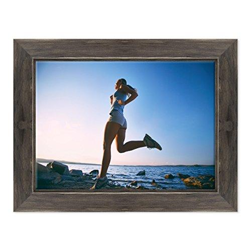 Bild auf Leinwand Canvas-Gerahmt-fertig zum Aufhängen-Running Running Marathon Decathlon Dimensione: 50x70cm D - Colore Nero Shabby (Marathon Bilderrahmen)