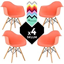 SILLA EAMES DSW (Pack 4) - SILLÓN DAW TOWER WOOD Naranja Salmón Madera Natural- (Elige Color) SKLUM