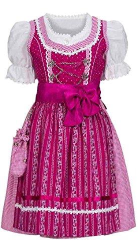 Nübler Kinderdirndl 3-TLG. Anja Beere, Gr. 146, Rüschen, Karo-Muster, Spitze, inkl. Bluse