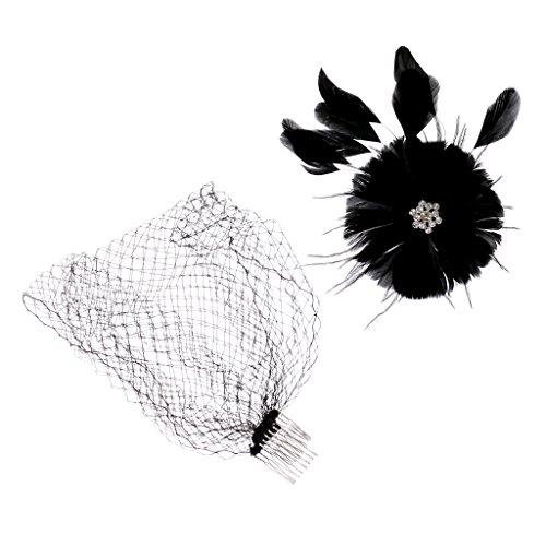 Dame Fascinateur Plume Voile Chapellerie Maillé Voilette à Cheveux pour Mariage - Noir
