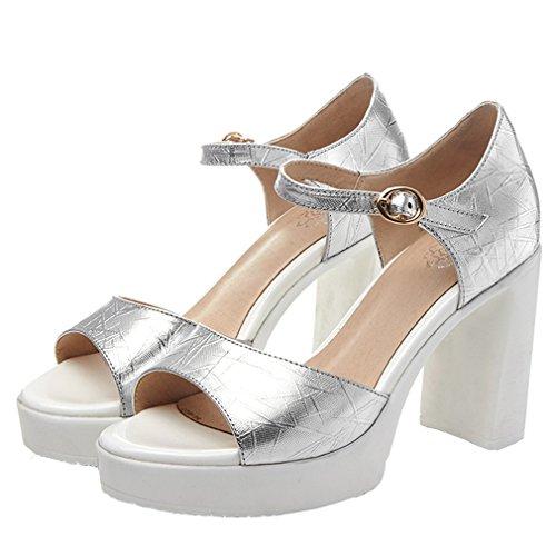 ENMAYER Womens Lackleder Knöchelriemen Blockabsatz Soffen Zehe Plateau Sandalen Büro Wölbungen Mode Schuhe Silber#4