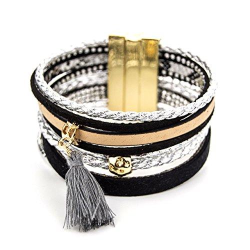 ManuMar Damen Schmuck | Armband mit Magnetverschluss | Lederimitat mit Strass-Steinen und Fransen-Quaste | Hippie Fashion Arm-Schmuck PU-Leder (Dekorative Leder-quaste)