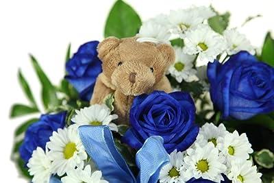 Blauer Blumenstrauß zur Geburt von Blumenversand Rosenbote bei Du und dein Garten