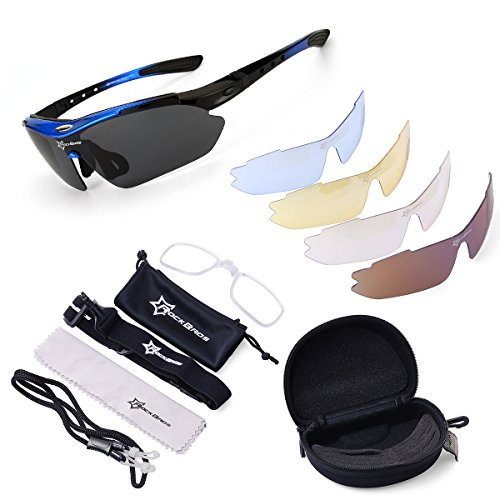ROCKBROS Cycling Sunglasses -Sports outdoor polarised Sunglasses -Blue 100% UVA UVB Eye Protection Glasses 5 Lens for Outdoor Sports like Running Trekking Casual Driving Hiking Skiing Surfing Shooting Fishing