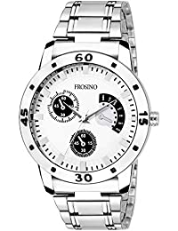 Frosino FRAC101840 Silver White dial Analogue Watch with Stainless Steel Strap for Men and Boys