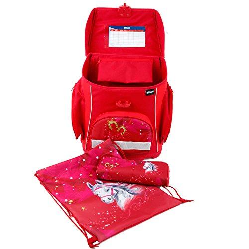 Schultaschen Set 3-teilig Schulrucksack leicht in Rot Motiv Pferde mit Sportbeutel & Etui