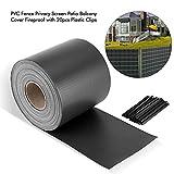 0,19x70m Brise-vue Bache PVC Noir Retractable Etanche, Ignifuge, Anti-UV, Antistatique pour Clôture, Terrasse, Balcon