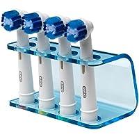 Seemii - Soporte para cabezales de cepillo de dientes electrónico, Soporta 2 ó 4 cabezales, Soporte Oral-B cabezales, Azul transparente (4)
