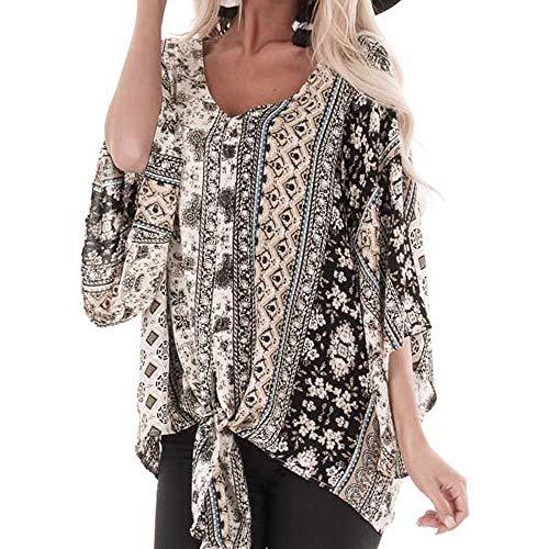 IZHH Mode Damen Shirt Vintage Chiffon Geknotet Gedruckt Oansatz Retro Print Chiffon Top Damen Lose Langarm Bluse(Grau,Medium)