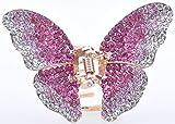 Superbe pour femme Gifts Doré Papillon en métal Pince à cheveux strass cristal épingles à cheveux Clips/Barrettes