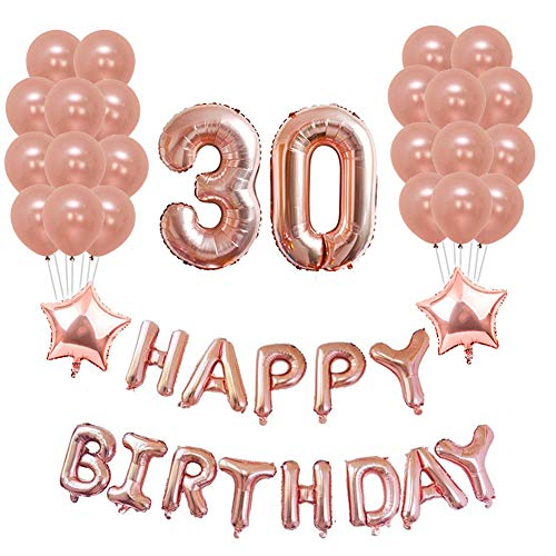 Yoart 30th Birthday Decorations Rose Gold Party Sets Happy Banner 2 Star Foil Balloon 20 Latex Balloons Decor