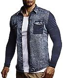 LEIF NELSON Herren Strick-Jacke-Hemd| Vintage Jeans-Hemd für Männer Slim-Fit Langarm | Freizeit Jacke-Hemd Verwaschen Casual LN3560 Größe XXL, Blau