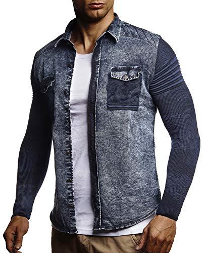 LEIF NELSON Herren Strick-Jacke-Hemd| Vintage Jeans-Hemd für Männer Slim-Fit Langarm | Freizeit Jacke-Hemd Verwaschen Casual LN3560; Größe L, Blau