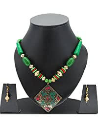 18-ARFA Stone Beads Charms Necklace Green-Golden Pendant-Rhombus Shape (Pack Of One Piece)
