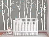 Large Birch tree decals for walls, Wall mural decal, White tree wall decal, Nursery wall decals, Vinyl wall decals, Wall decal for nursery Nursery decal for kids and living room