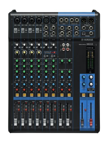 Yamaha MG12 Mixer Analogico, 12 Ingressi, Nero/Blu
