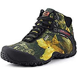 SANANG Hombres Zapatillas de deporte al aire libre Camuflaje Botas de senderismo Zapatos de trekking (42 EU, Amarillo)