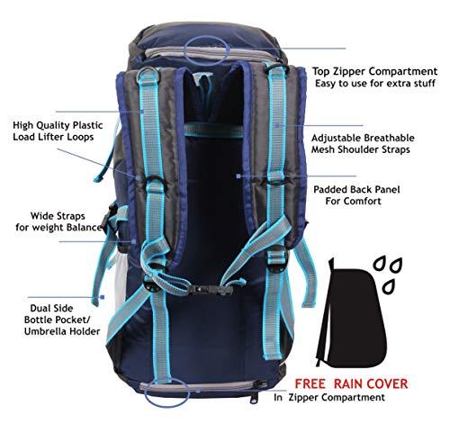 POLESTAR Hike Grey Rucksack with RAIN Cover/Trekking/Hiking BAGPACK/Backpack Bag Image 3