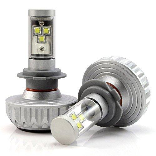 NIGHTEYE 2× H7 LED AutoScheinwerfer Birnen Kit 60W(30W Jede Birne) 4400 LM(2200LM Jede Birne) 6000K Weiß DC 12 - 24V Scheinwerferlampe mit CREE Chips Vier tönungsfolie 3 Jahre Garantie