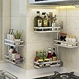 Küchenregal Punch-free Küchenregale Wand hängen Gewürzregal 304 Edelstahl drehbar Multi-Layer-Ecke Rahmen kann angepasst werden (Größe : 3 layers)
