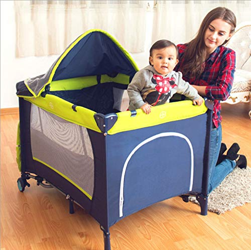 Mr.LQ Crib Folding Crib Multi-Function Game Bed Portable Bunk Bed Crib Fence Custom Baby Game Bed Bed,Green  1, atmospheric design (European style, atmospheric design) 2, health and environmental protection (baby play peace of mind) 3, multi-function (sleep and play two functions) 4