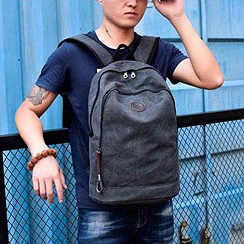 MagiDeal Vintage Mode Segeltuch Rucksack Freizeitrucksack Tagesrucksack Schulrucksack Damen Herren Rucksäck Grau
