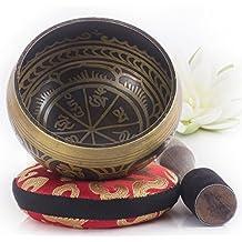 Campana Tibetana - Design Antico - Completa di Cuscino Himalayano e Percussore - Ottima Idea Regalo - Realizzato in Nepal - Antico Poesia Libri