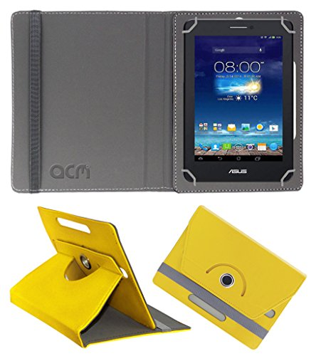 Acm Rotating 360° Leather Flip Case for Asus Fonepad 7 Me175cg Dual Sim Cover Stand Yellow  available at amazon for Rs.149